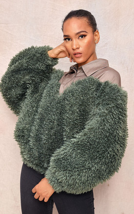 Green Oversized Faux Fur Sweater by April & Alex Product photo