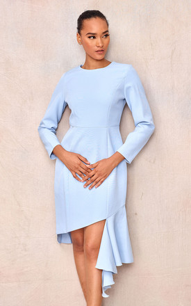 Long Sleeve Pleated Dress In Light Blue by April & Alex Product photo