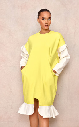 Oversized Long Sleeve Dress In Yellow/White by April & Alex Product photo