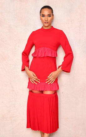Red Fitted Midi Dress With Frill Detail by April & Alex Product photo
