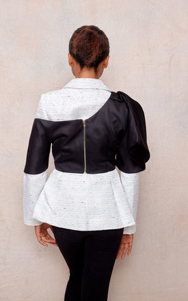 Two-Piece Single Breasted Jacket & Crop Top in Black/White by April & Alex