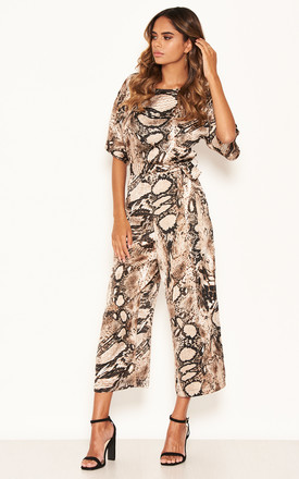 Snake Printed Culotte Jumpsuit With Tie Belt by AX Paris