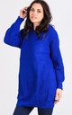 Olivia Chunky Knit Hoodie Dress in Royal Blue by Oops Fashion
