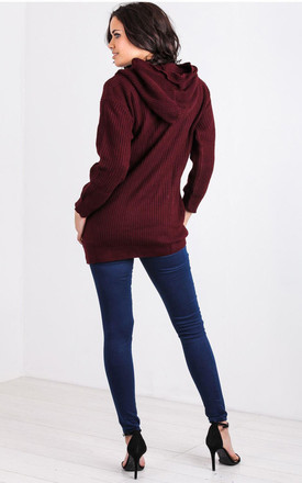 Olivia Chunky Knit Hoodie Dress in Wine by Oops Fashion