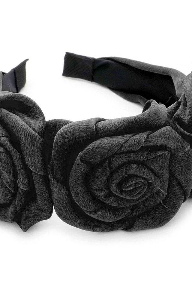 Black Floral Headband by Olivia Divine Jewellery