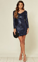 Long Sleeved Short Blue Sequin Dress by LOVEMYSTYLE