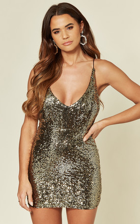 Gold Sequin Mini Dress by Twist and Turn Product photo