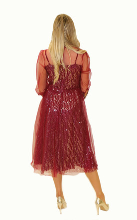 3/4 Sleeve Sequin Midi Dress in Red by So Amazing Couture