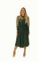 3/4 Sleeve Sequin Midi Dress in Green by So Amazing Couture