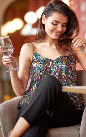 Strappy Sequin Top in Multicolour by AWAMA