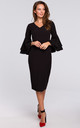 Midi Dress with Ruffled Sleeves in Black by Dursi