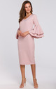 Midi Dress with Ruffled Sleeves in Pink by Dursi