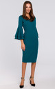 Midi Dress with Ruffled Sleeves in Green by Dursi