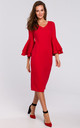 Midi Dress with Ruffled Sleeves in Red by Dursi