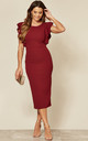 Emily Frill Sleeve Midi Dress in wine by WalG