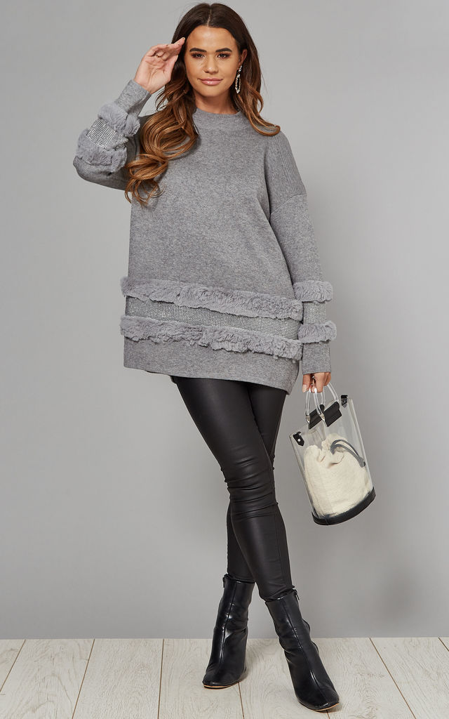 Oversized Jumper with Faux Fur & Sequins in Grey by CY Boutique