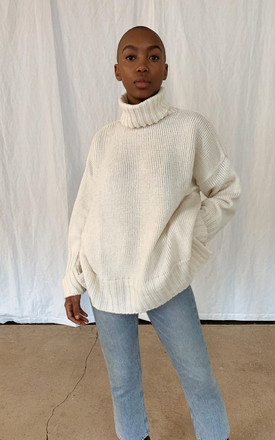 Lina Turtle Neck Jumper - Cream by Pretty Lavish