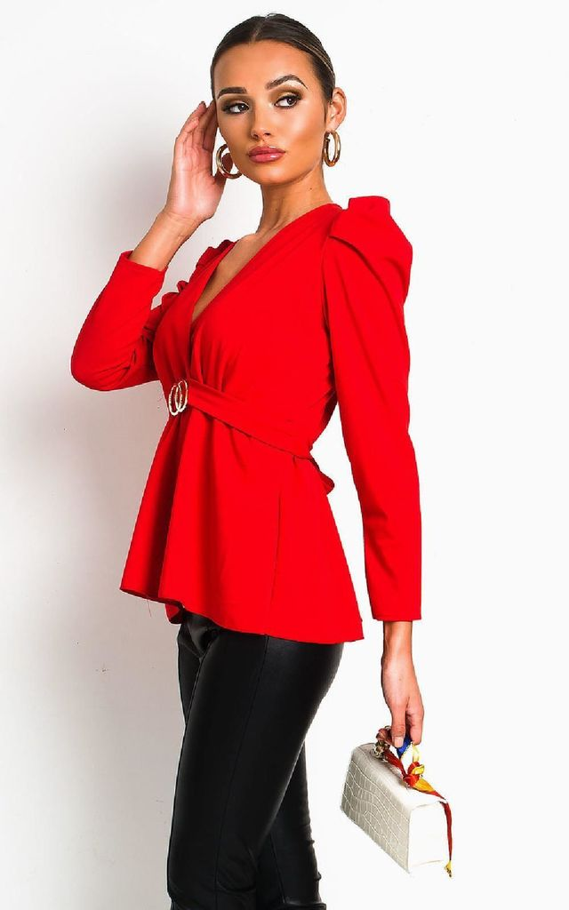 Kimmie Puff Sleeve Belted Blouse Top in Red by IKRUSH