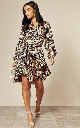 Exclusive Silky Wrap Dress In Zebra Print by Another Look Product photo
