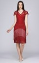 Edith Flapper Fringe Dress in Red by Gatsbylady London