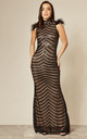 POWER BLACK HIGH NECK MAXI DRESS WITH SEQUINS & FEATHERS by Nazz Collection