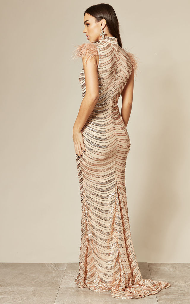 POWER ROSE GOLD HIGH NECK MAXI DRESS WITH SEQUINS & FEATHERS by Nazz Collection