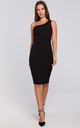 One Shoulder Midi Dress in Black by Dursi