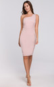 One Shoulder Midi Dress in Pink by Dursi