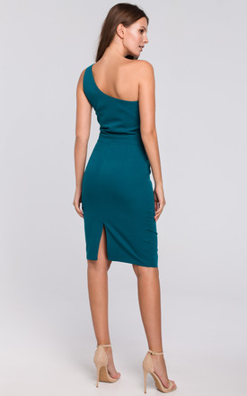 One Shoulder Midi Dress in Green by Dursi