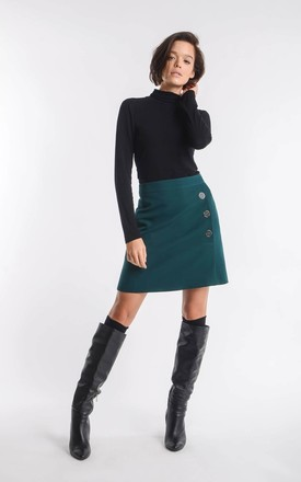 Green mini skirt with buttons by Bergamo