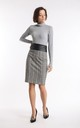 Pencil Skirt with Belt in Grey/Yellow Check by Bergamo