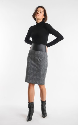 Pencil Skirt with Belt in Grey/Green Check by Bergamo