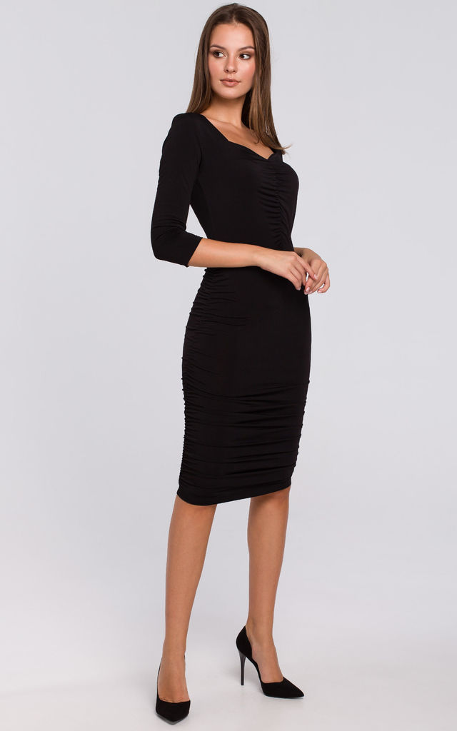 Knit Dress with Ruched Detailing in Black by Dursi
