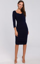Knit Dress with Ruched Detailing in Navy Blue by Dursi