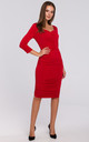 Knit Dress with Ruched Detailing in Red by Dursi