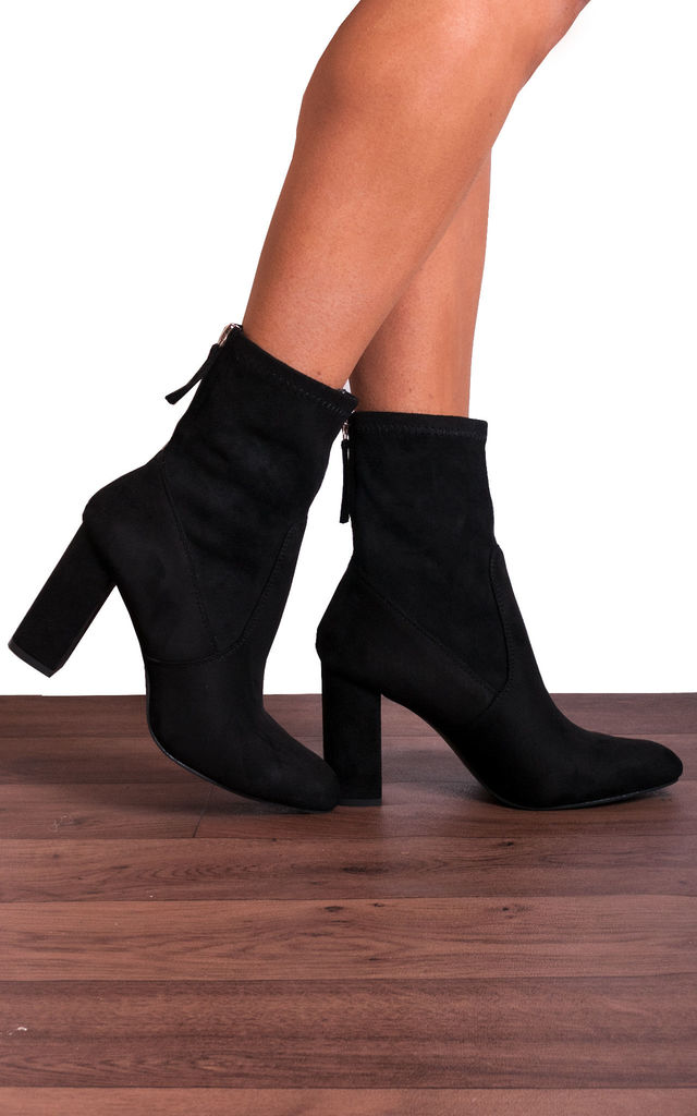 Black Suede Stretch Toe Heeled Sock Boots by Shoe Closet