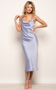 Cowl Neck Satin Slip Cami Midi Dress Blue by URBAN TOUCH