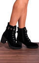 Black Faux Suede Buckle Military Lace Ups Cleated Block High Heeled Ankle Boots by Shoe Closet