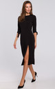 Knit Midi Dress with Tied Sleeves in Black by Dursi