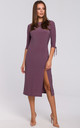 Knit Midi Dress with Tied Sleeves in Purple by Dursi