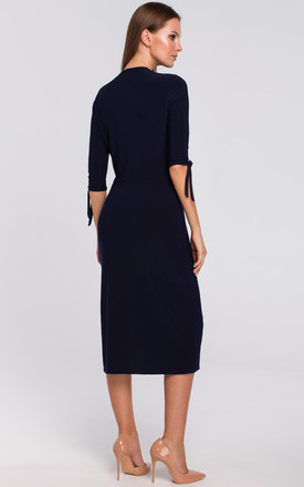 Knit Dress with Tied Sleeves in Navy Blue by Dursi