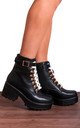 Black Chunky Platform Lace Up Ankle Boots by Shoe Closet