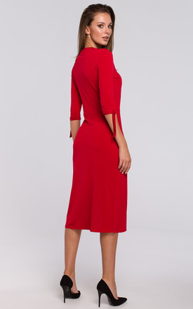 Knit Midi Dress with Tied Sleeves in Red by Dursi