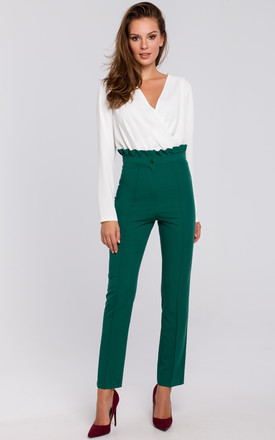 High Waist Trousers With Ruffled Belt In Green by Dursi Product photo