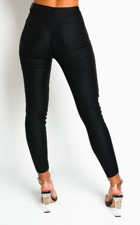 Milla Skinny Coated Jeans in Black by IKRUSH
