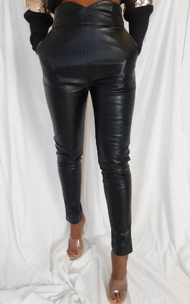 Ellie High Waisted Faux Leather Trousers in Black by IKRUSH