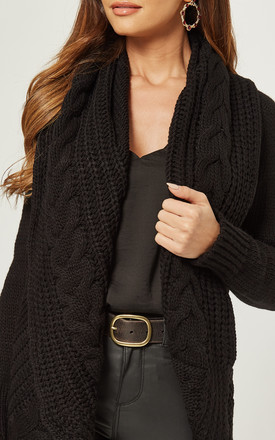 EXCLUSIVE Chunky Pleat Long Cardigan In Black by Love