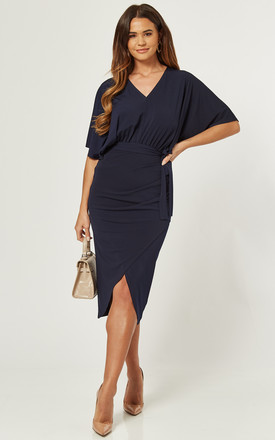 Navy Batwing Midi Wrap Dress by Love Product photo