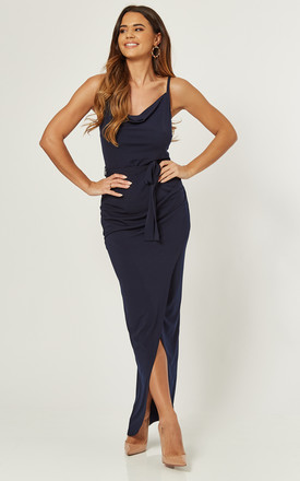 Navy Cami Cowl Neck Wrap Maxi Bridesmaid Dress by Love Product photo