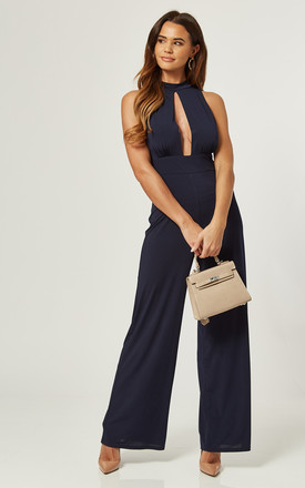 Sleeveless Wide Leg Keyhole Jumpsuit With Open Back In Navy by Love Product photo